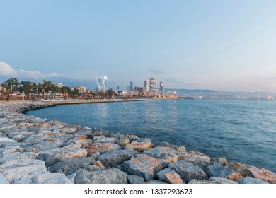 New skyscrapers district of Izmir City view from Bayrakli seaside. Izmir is a city on Turkey's Aegean coast. Known as Smyrna in antiquity.