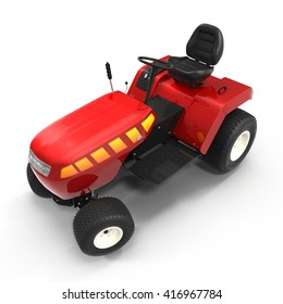 New small red tractor isolated over white. 3D illustration
