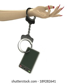 new smart phone attached with chain to human hand illustration