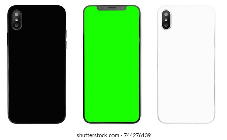 New smart phone model isolated on white background.Black,white back panels with vertical dual photo camera lenses.Front panel with green chroma key background