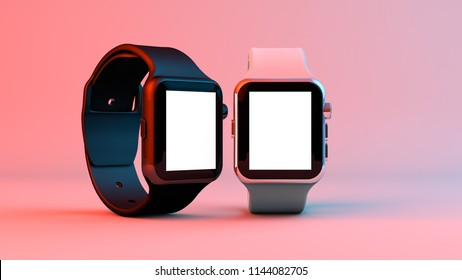 new smart watch mockup chrome color in color background illustration in the studio light with blank screen for artwork and text