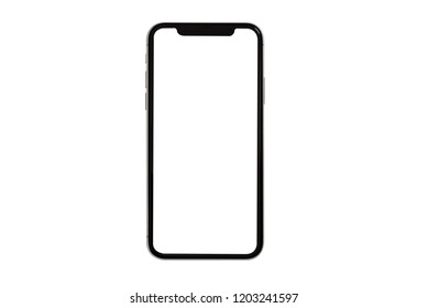 New smartphone  with blank screen isolated on black background. Flat lay, top view.