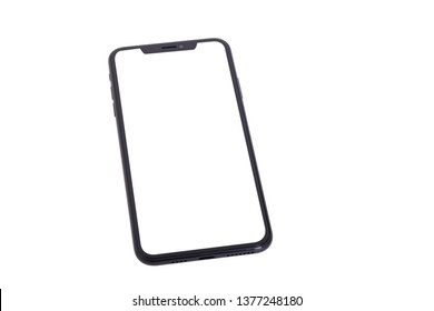 New smartphone with white screen isolated on white background
