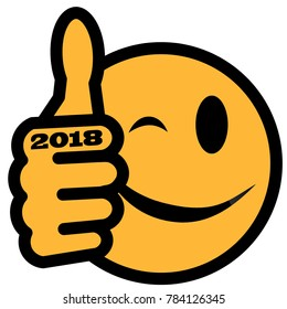New Year´s smiley with thumb up and year 2018