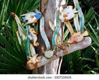 New Smyrna Beach, Florida/US - December 7, 2017:  Metal underwater scene, garden art