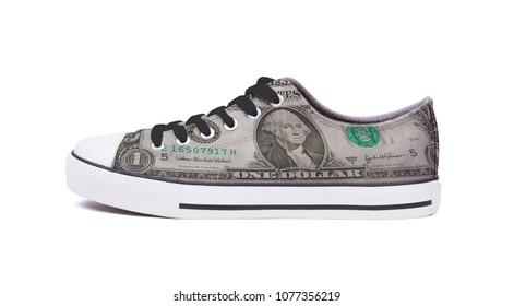 New sneaker shoe, isolated on a white background - One dollar