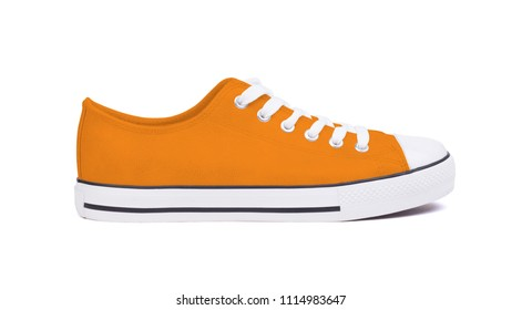 New sneaker shoe, isolated on a white background - Orange