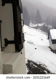 New snow on chalets in the French alps village of Chatel
