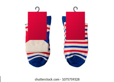 New socks on a white background. Colorful socks with red label for your design. Isolated object