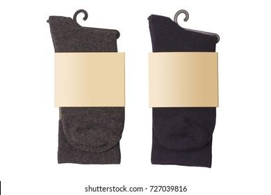New socks on a white background. Dark socks. Isolate