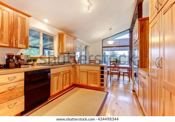 New Solid Wood Acacia Kitchen Custom Stock Photo Edit Now 434498344