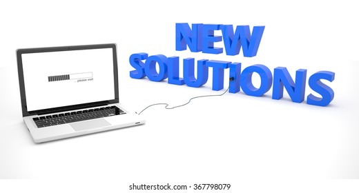 New Solutions - laptop notebook computer connected to a word on white background. 3d render illustration.