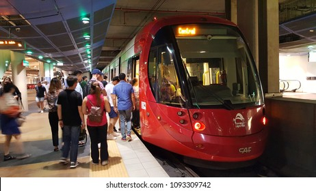 """New South Wales, Australia - February 2018: Train is one of the most convenient mode of public transport in Sydney, Australia. Traveler often use """"Opal"""" card for commuting."""