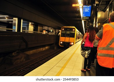 NEW SOUTH WALES, AUSTRALIA - JANUARY 24 : People withing Subway Train at Sydney on January 24, 2015 in New South Wales, Australia.