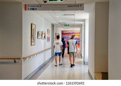 New South Wales, Australia - September 29, 2018: Construction and building work on Gosford Hospital redevelopment. Corridor inside 8th floor of new Wing. Progress Update H37ed.