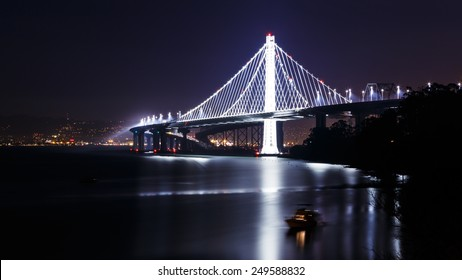 New span of the San Francisco-Oakland Bay Bridge illuminated at night