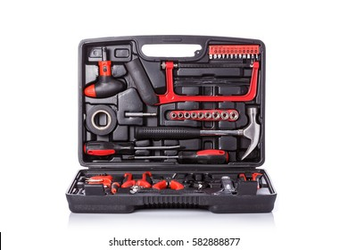 New square black tool box. Studio shot isolated on white background.