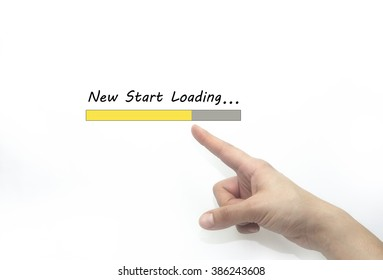 new start loading bar with hand,  life style concept. isolated on white