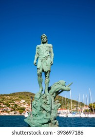 the new statue of Odysseus at the port of Ithaca island, July 29th 2015 Greece