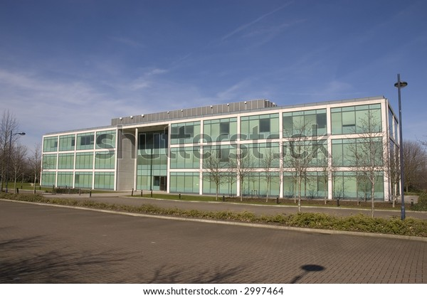 A new steel and glass office building