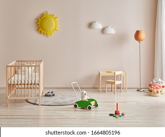 new style baby room decoration, modern wooden crib and toy.