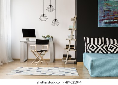 New style black and white room with sleeping and study area combined