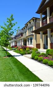 New Suburban Neighborhood on a Sunny Day