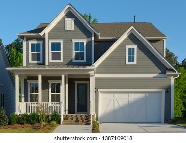 New suburban residential home exterior
