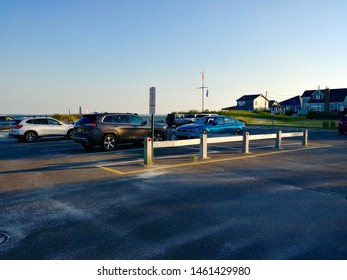 New Suffolk, NY - July 13 2019: The New Suffolk Beach parking lot