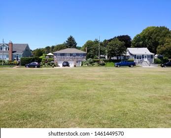 New Suffolk, NY - July 13 2019: An empty field adjacent to New Suffolk Beach