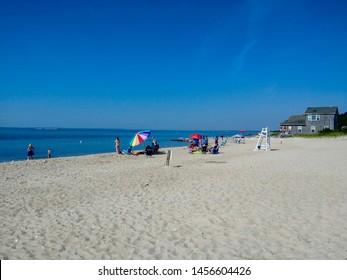 New Suffolk, NY - July 4 2019: New Suffolk Beach