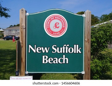 New Suffolk, NY - July 4 2019: A sign for New Suffolk Beach