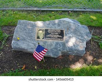New Suffolk, NY - July 4 2019: Baseball field dedicated to New Suffolk resident Jason Cooper