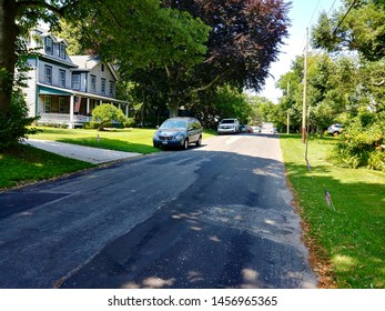 New Suffolk, NY - July 4 2019: A residential street in New Suffolk