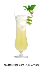 New Summer lemon cocktail drink margarita or mojito with lime and mint isolated on a white background