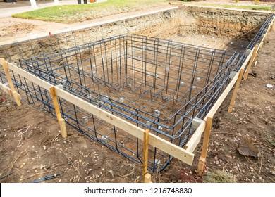New Swimming Pool Steel Rebar Framing Construction Site.