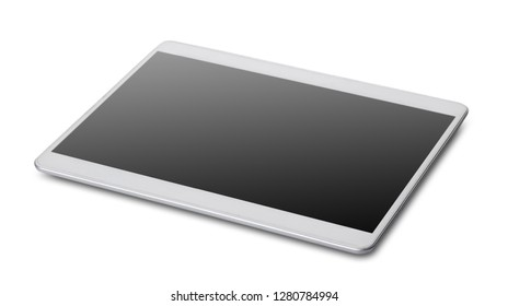 new tablet closeup on white isolated background