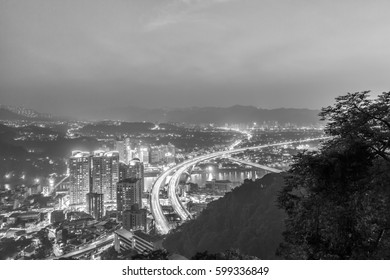 Asian mountain scene black and white