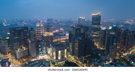 New Taipei City Skyline Aerial View in Evening - Asia modern business city, panoramic cityscape birds eye view use the drone, shot in Banqiao District, New Taipei, Taiwan.