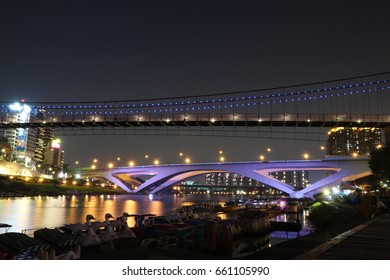 New Taipei City , Taiwan - April-30,2017 : Night view of the evening at Bitan in Taiwan