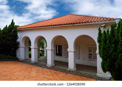 New taipei City , Taiwan - August 5th , 2018 : Tamsui Customs Officer's Residence , Little White House. With its domed corridor design and half dome archway