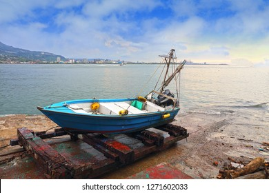 New Taipei City , Taiwan - July 15th ,2018 : boat and pier at Tamsui old street in New Taipei City in Taiwan.