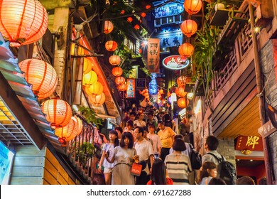 New Taipei City, Taiwan-August 4, 2017: Night Street View of the Famous Small Mountain Village, Old Town Jiufen