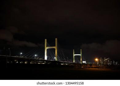 New Taipei City,Taiwan - June 5th , 2018 : Chongyang Bridge at night