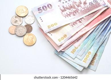 New Taiwan Dollar bill on white background