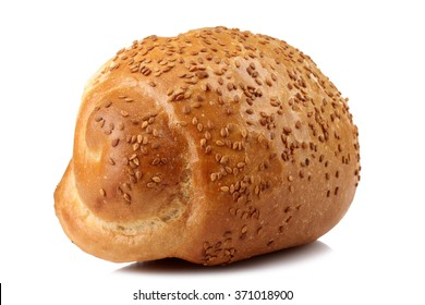New tasty baked roll with sesame isolated on white background