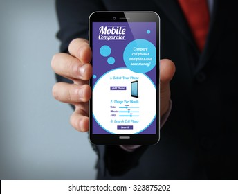 new technologies business concept: businessman hand holding a 3d generated touch phone with online mobile comparator on the screen. Screen graphics are made up.