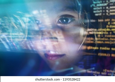 new technologies, a child uses a futuristic processor for augmented reality. high technology and communication concept. TV