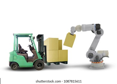 new technology in the future AI robot stacking master box on pallet on forklift isolated on white background. This has clipping path.