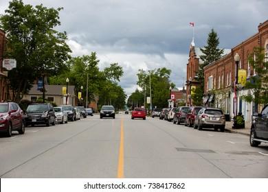 NEW TECUMSEH, CANADA - SEPTEMBER 15, 2017: MAIN STREET IN SMALL TOWN.